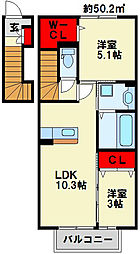 クラポンテMII[2階]の間取り