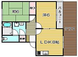 ハイツファミールA棟[1階]の間取り
