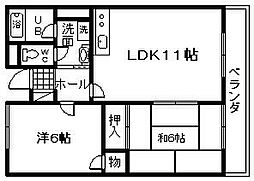 ハートフル岸和田[3階]の間取り