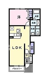 JR美祢線 美祢駅 徒歩10分の賃貸アパート 1階1LDKの間取り