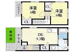南海高野線 萩原天神駅 徒歩9分の賃貸アパート 1階2DKの間取り