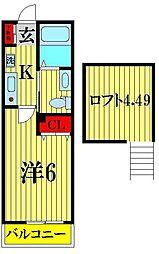 埼玉県越谷市レイクタウン6丁目の賃貸アパートの間取り