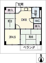 コーポ村武[5階]の間取り