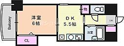 ノルデンハイム東三国 3階1DKの間取り