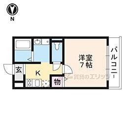京都地下鉄東西線 太秦天神川駅 徒歩5分の賃貸マンション 1階1Kの間取り