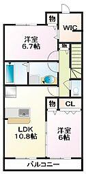 グランドゥールB[2階]の間取り