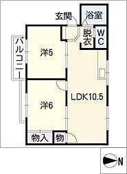 竹市南塚ハイツ[2階]の間取り