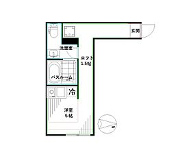 JR中央本線 高円寺駅 徒歩6分の賃貸マンション 1階ワンルームの間取り
