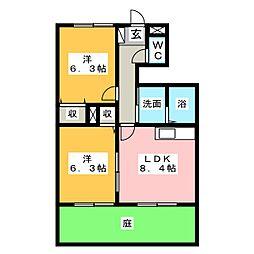 サンハイム勝川[1階]の間取り