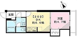 東京メトロ丸ノ内線 茗荷谷駅 徒歩12分の賃貸マンション 2階1DKの間取り