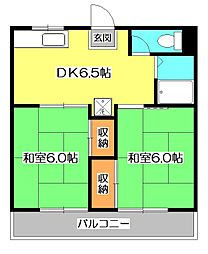 東京都東久留米市八幡町2丁目の賃貸アパートの間取り