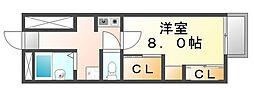 岡山県笠岡市富岡の賃貸アパートの間取り