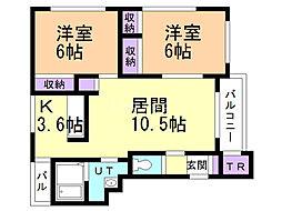 クレストN43B 3階2LDKの間取り