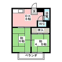 井上コーポ A棟[2階]の間取り