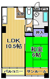 千鳥橋団地1号棟[7階]の間取り