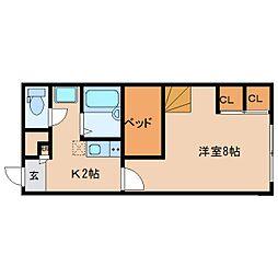 近鉄京都線 大和西大寺駅 バス14分 平城中山北口下車 徒歩3分の賃貸マンション 2階1Kの間取り