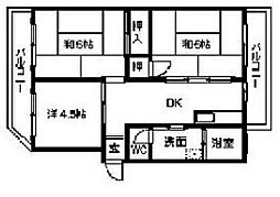 福岡県北九州市小倉北区上富野3丁目の賃貸マンションの間取り