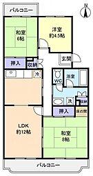 習志野七つ台団地3号棟[1階]の間取り