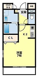 愛知県豊田市市木町4丁目の賃貸アパートの間取り