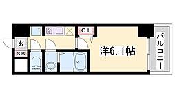 エステムコート神戸グランスタイル 15階1Kの間取り