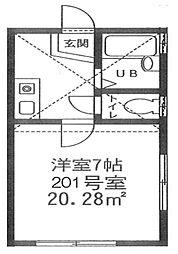 神奈川県横浜市神奈川区六角橋6丁目の賃貸アパートの間取り