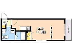 シュルーク アナーカ大濠 3階ワンルームの間取り