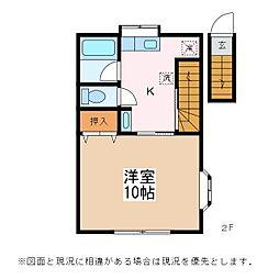 JR篠ノ井線 松本駅 徒歩10分の賃貸アパート 2階1Kの間取り