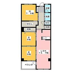 アンソレイエ覚王山[6階]の間取り