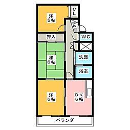 マンション宮木[3階]の間取り