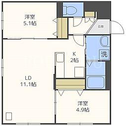 北海道札幌市中央区南二十一条西13丁目の賃貸マンションの間取り