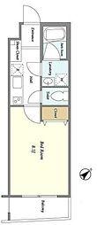 西武池袋線 椎名町駅 徒歩6分の賃貸マンション 1階1Kの間取り