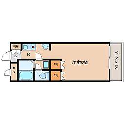 JR桜井線 長柄駅 徒歩15分の賃貸マンション 1階1Kの間取り