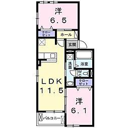 フェリア太田B 2階2LDKの間取り