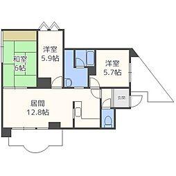 北海道札幌市北区北四十条西5丁目の賃貸マンションの間取り