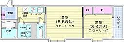 仙台市地下鉄東西線 連坊駅 徒歩7分の賃貸アパート 2階2Kの間取り
