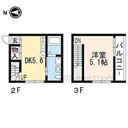 京都市営烏丸線 今出川駅 徒歩7分の賃貸アパート 2階1DKの間取り