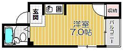Osaka Metro谷町線 大日駅 徒歩17分の賃貸マンション 1階ワンルームの間取り