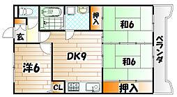 キャニオン朝倉[4階]の間取り