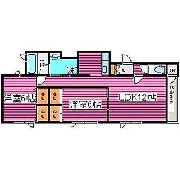 北海道札幌市東区東苗穂六条1丁目の賃貸アパートの間取り