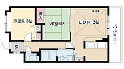 愛知県名古屋市名東区植園町2丁目の賃貸マンションの間取り