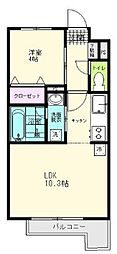 JR仙石線 陸前原ノ町駅 徒歩7分の賃貸アパート 3階1LDKの間取り