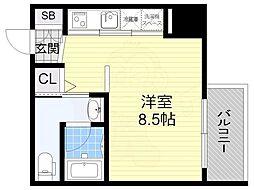 Innocent Doyama 7階ワンルームの間取り