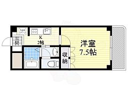 阪急京都本線 上新庄駅 徒歩11分の賃貸マンション 3階1Kの間取り