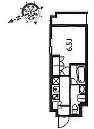 アジールコート東大井 2階1Kの間取り
