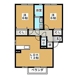 愛知県日進市折戸町鎌ケ寿の賃貸アパートの間取り