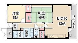 兵庫県宝塚市山本東町3丁目の賃貸マンションの間取り