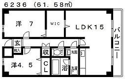 ハイグレード高井田[406号室号室]の間取り