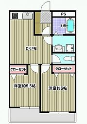 東京都世田谷区桜丘2丁目の賃貸マンションの間取り