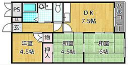 ハイクレスト宮之阪[3階]の間取り