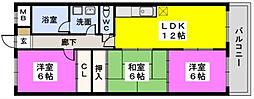 JR香椎線 和白駅 徒歩9分の賃貸マンション 3階3LDKの間取り